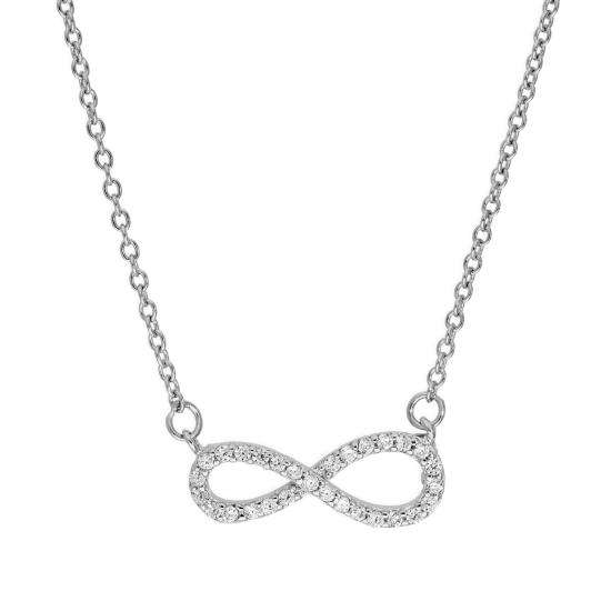 Sterling Silver & Clear CZ Crystal Infinity Symbol Necklace