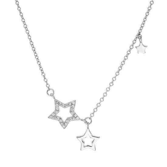 Sterling Silver & Clear CZ Crystal Star Outlines Necklace