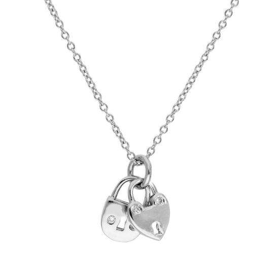 Sterling Silver & Clear CZ Crystal Double Padlock Necklace