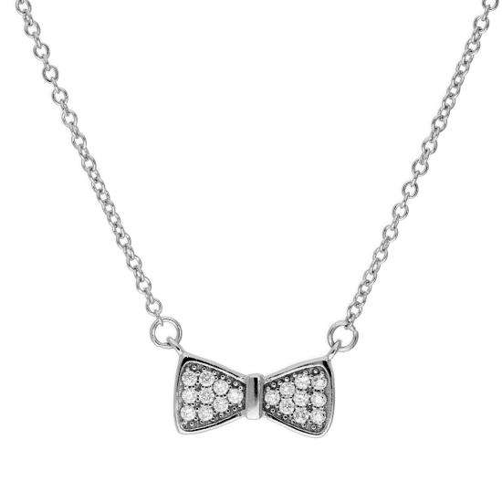 Sterling Silver & Clear CZ Crystal Bow Necklace