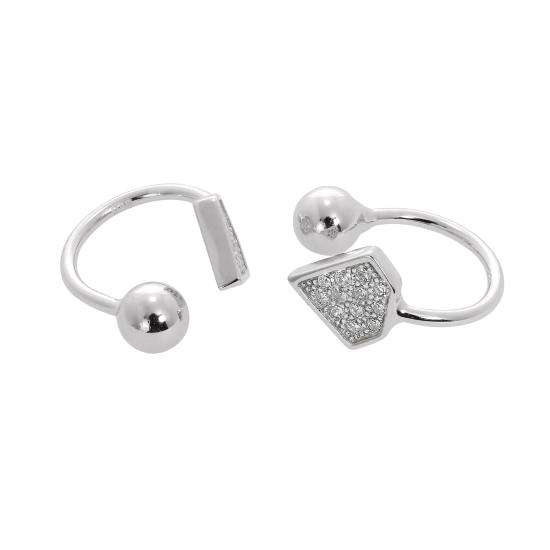 Sterling Silver & Clear CZ Crystal Diamond Shape Ear Cuffs