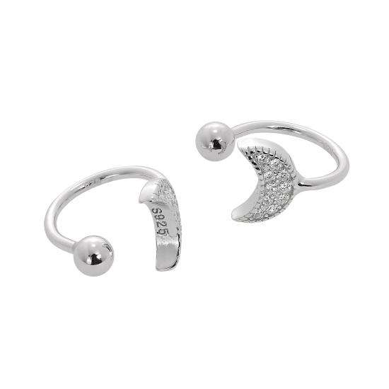 Sterling Silver & Clear CZ Crystal Crescent Moon Ear Cuffs