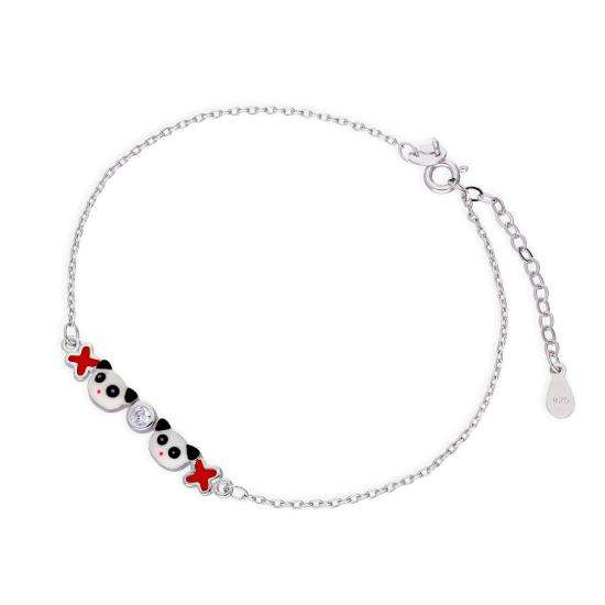 Sterling Silver & Clear CZ Crystal Cute Panda w Flowers Bracelet