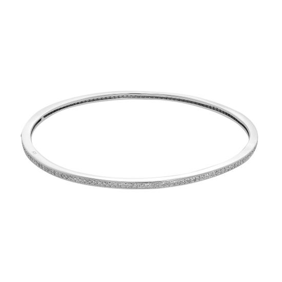 Sterling Silver & Clear CZ Crystal Hinged Oval Bangle