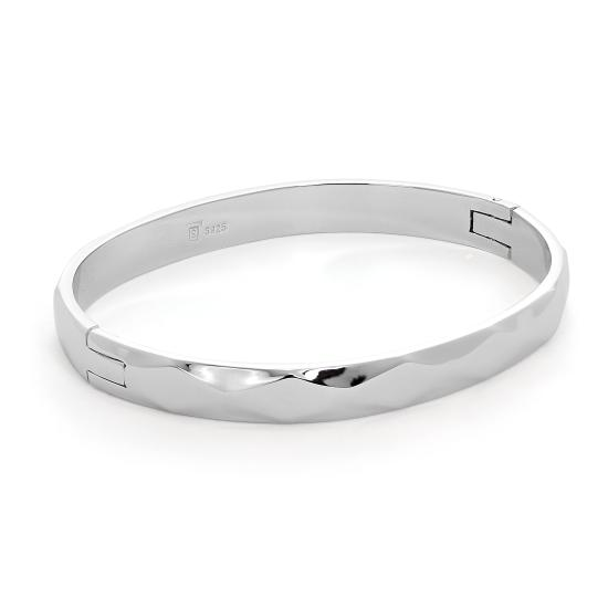Sterling Silver Thick Band Diamond Cut Oval Bangle