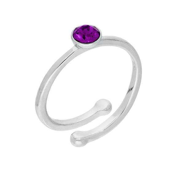 Sterling Silver & Amethyst CZ Crystal February Adjustable Birthstone Ring