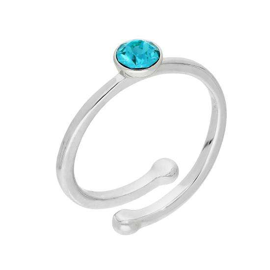 Sterling Silver & Aquamarine CZ Crystal March Adjustable Birthstone Ring