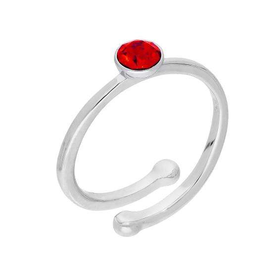 Sterling Silver & Ruby CZ Crystal July Adjustable Birthstone Ring