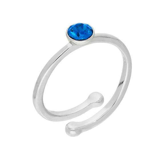 Sterling Silver & Sapphire CZ Crystal September Adjustable Birthstone Ring