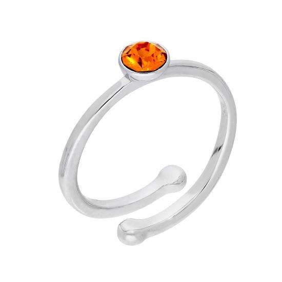 Sterling Silver & Citrine CZ Crystal November Adjustable Birthstone Ring