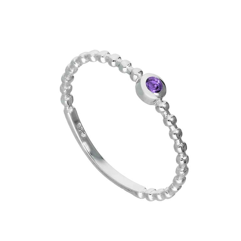 Sterling Silver & Alexandrite CZ Crystal June Birthstone Beaded Band Ring I - U