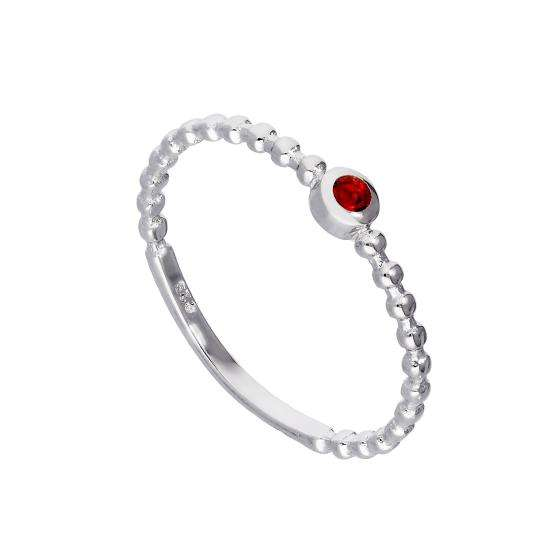 Sterling Silver & Ruby CZ Crystal July Birthstone Beaded Band Ring sizes I - U