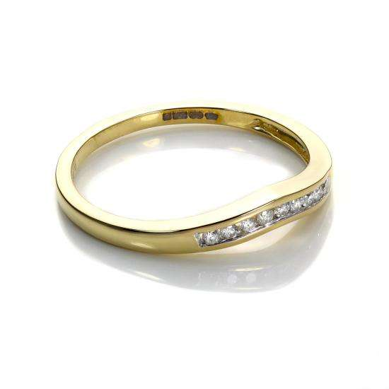9ct Yellow Gold 0.1ct Diamond Wishbone Ring