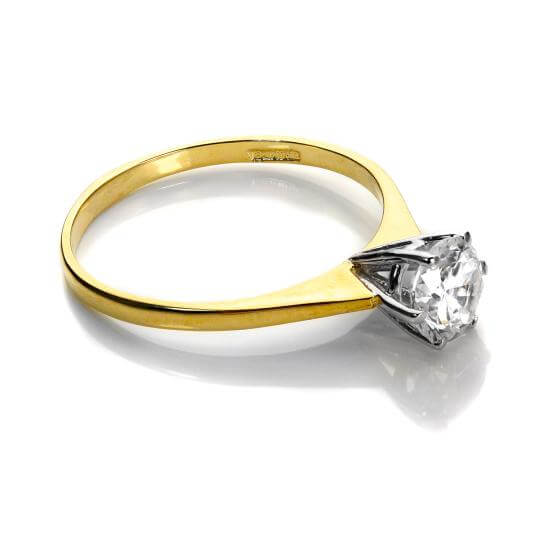 9ct Yellow Gold Clear Crystal Solitaire Engagement Ring