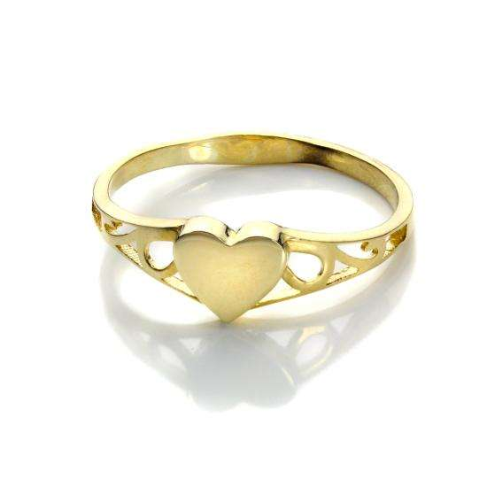 Personalisable 9ct Yellow Gold Heart Signet Ring