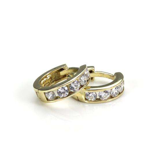 9ct Gold 7mm Crystal Huggie Hinged Hoop Earrings