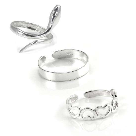 Sterling Silver Summer Toe Rings Set