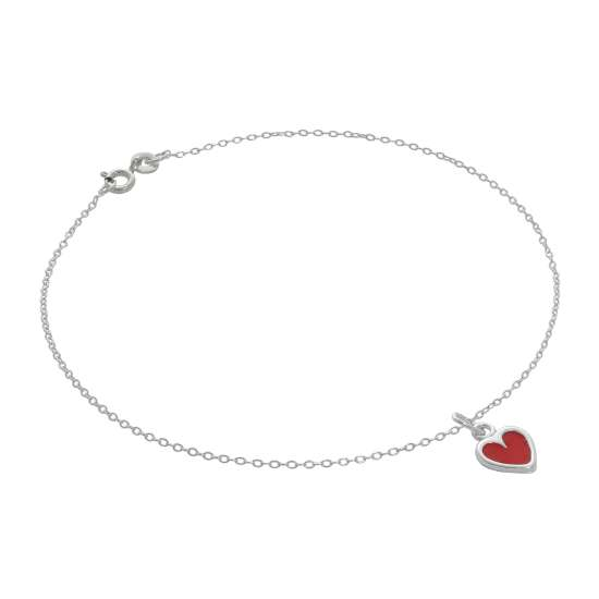 Fine Sterling Silver Belcher Anklet with Red Enamel Heart Charm - 10 Inches