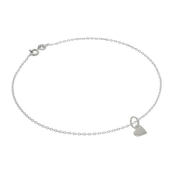 Fine Sterling Silver Belcher Anklet with Small Flat Heart Charm - 10 Inches