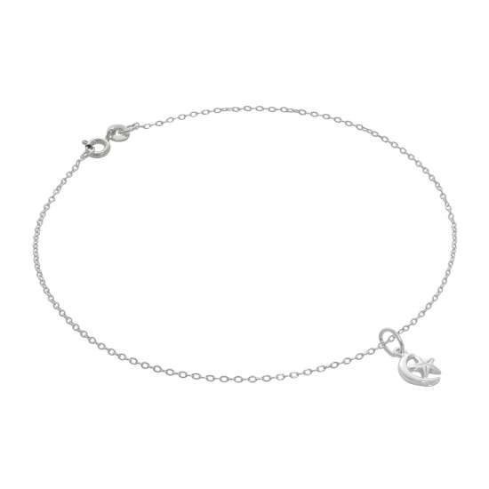 Fine Sterling Silver Belcher Anklet with Tiny Moon & Star Charm - 10 Inches