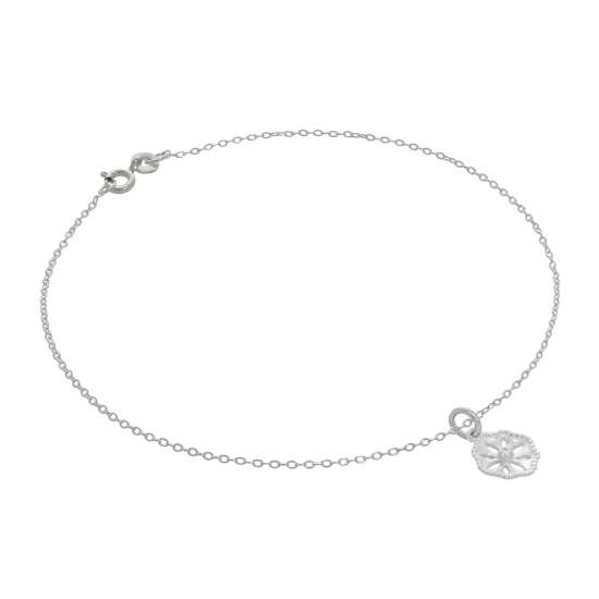 Fine Sterling Silver Belcher Anklet with Cut Out Flower Charm - 10 Inches