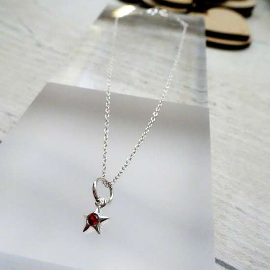 Fine Sterling Silver Belcher Anklet with CZ Crystal July Birthstone Star Charm - 10 Inches