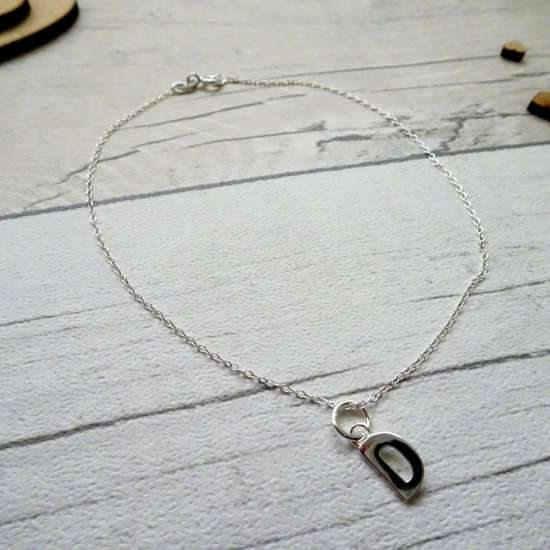 Fine Sterling Silver Belcher Anklet with Alphabet Letter Charm - 10 Inches - A-Z