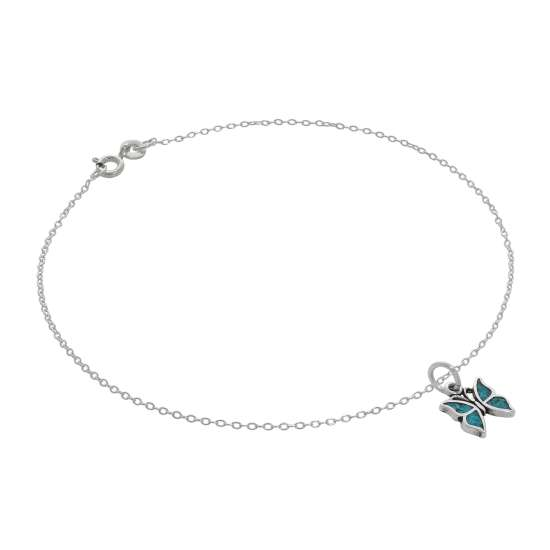 Fine Sterling Silver Belcher Anklet with Small Turquoise Butterfly Charm - 10 Inches