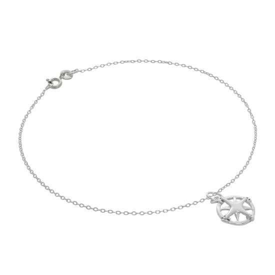 Fine Sterling Silver Belcher Anklet with Compass Charm - 10 Inches