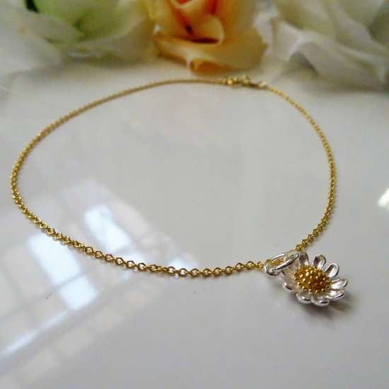 Fine Gold Plated Sterling Silver Trace Chain Anklet with Daisy Charm - 10 Inches