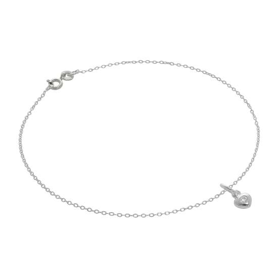 Fine Sterling Silver Belcher Anklet with Clear CZ Crystal Heart Charm