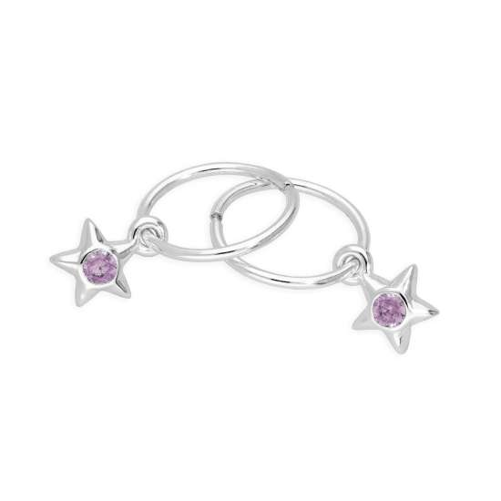 Sterling Silver CZ Crystal October Birthstone Star 10mm Sleeper Hoop Earrings