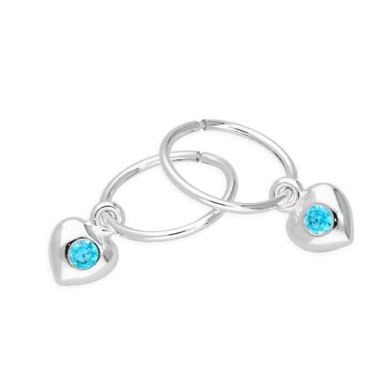 Sterling Silver CZ Crystal December Birthstone Heart 10mm Sleeper Hoop Earrings