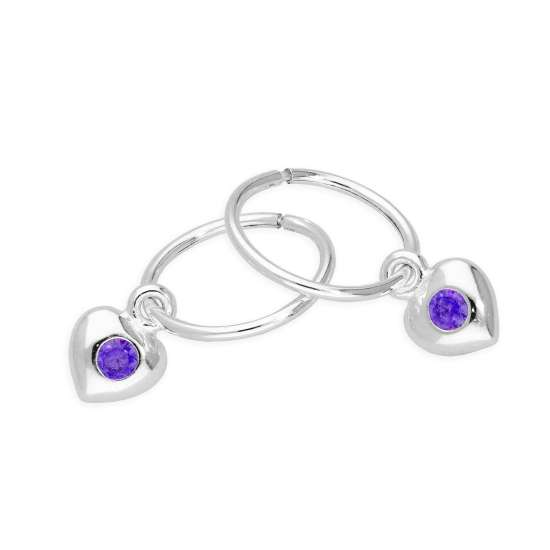 Sterling Silver CZ Crystal February Birthstone Heart 10mm Sleeper Hoop Earrings