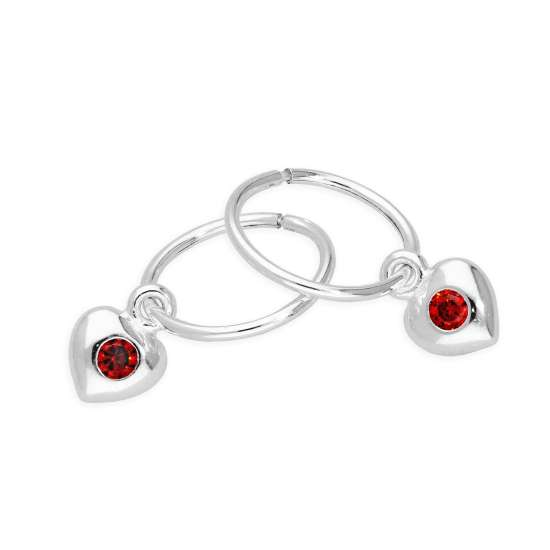 Sterling Silver CZ Crystal January Birthstone Heart 10mm Sleeper Hoop Earrings