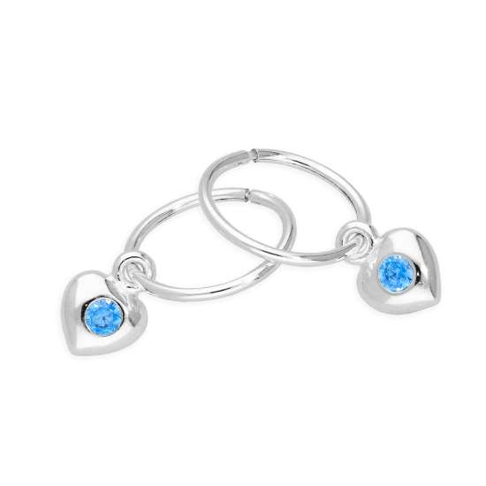 Sterling Silver CZ Crystal March Birthstone Heart 10mm Sleeper Hoop Earrings