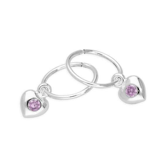 Sterling Silver CZ Crystal October Birthstone Heart 10mm Sleeper Hoop Earrings