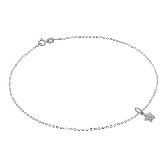 9ct White Gold Hammered Trace Anklet with CZ Star Charm - 9.5 Inches
