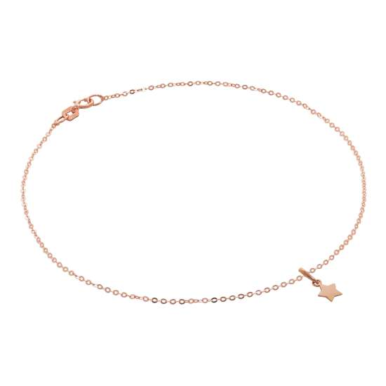 9ct Rose Gold Hammered Trace Anklet with Star Charm - 9.5 Inches
