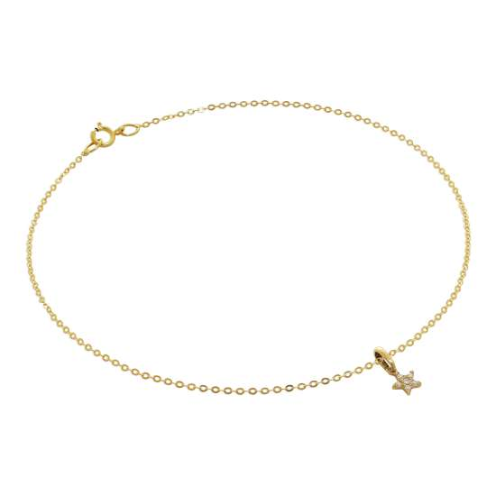 9ct Gold Hammered Trace Anklet with CZ Star Charm - 9.5 Inches