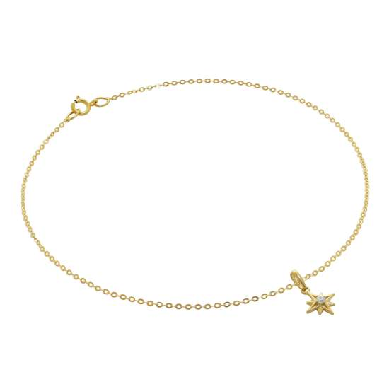 9ct Gold Hammered Trace Anklet with CZ Shining Star Charm - 9.5 Inches