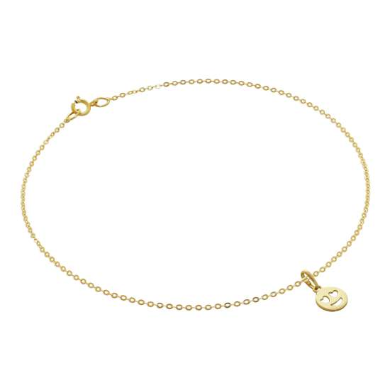 9ct Gold Hammered Trace Anklet with Heart Eyes Emoji Charm - 9.5 Inches