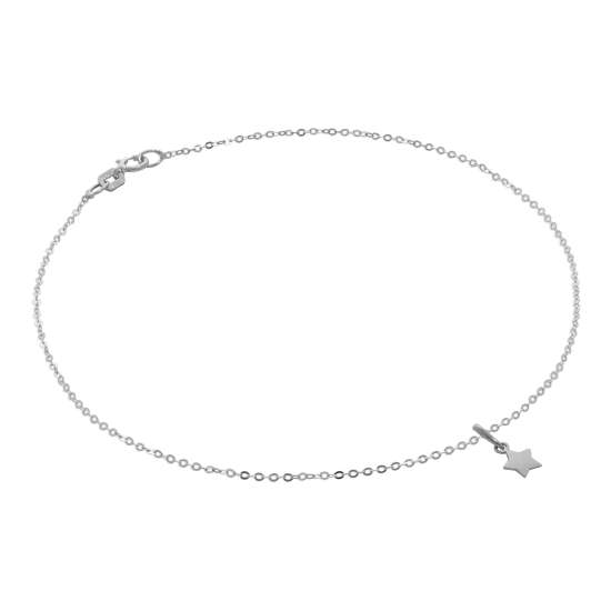 9ct White Gold Hammered Trace Anklet with Star Charm - 9.5 Inches