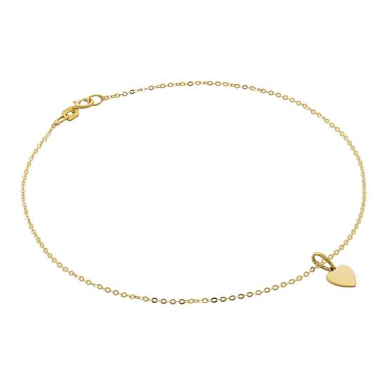 9ct Gold Hammered Trace Anklet with Engravable Heart Charm - 9.5 Inches