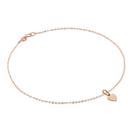 9ct Rose Gold Hammered Trace Anklet with Engravable Heart Charm - 9.5 Inches