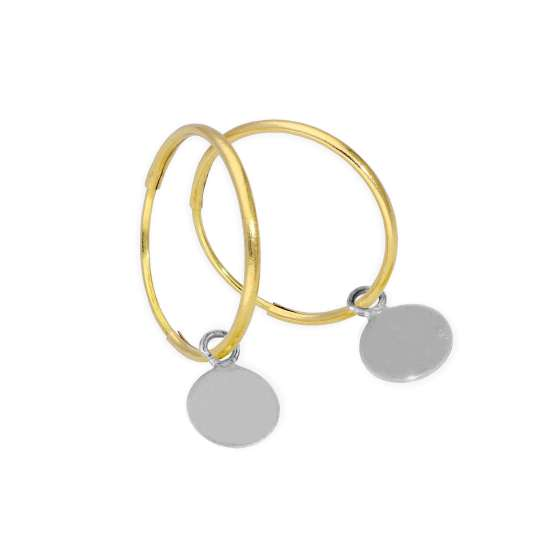 9ct Gold 10mm Charm Hoop Earrings with Tiny 9ct White Gold Circle Tags