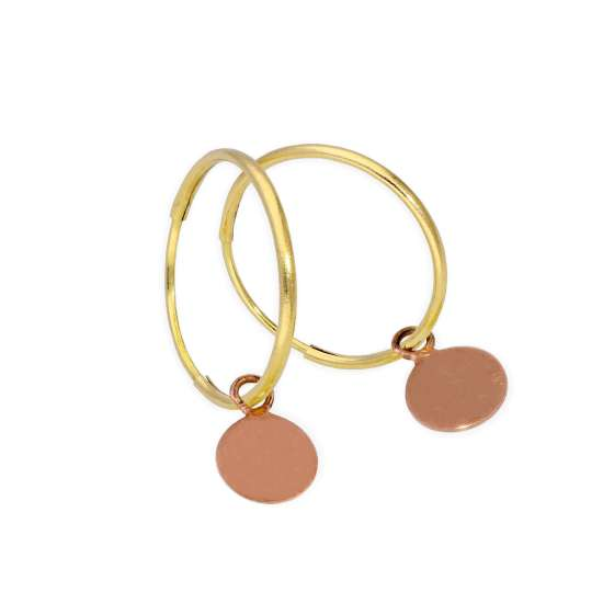 9ct Gold 10mm Charm Hoop Earrings with Tiny 9ct Rose Gold Circle Tags