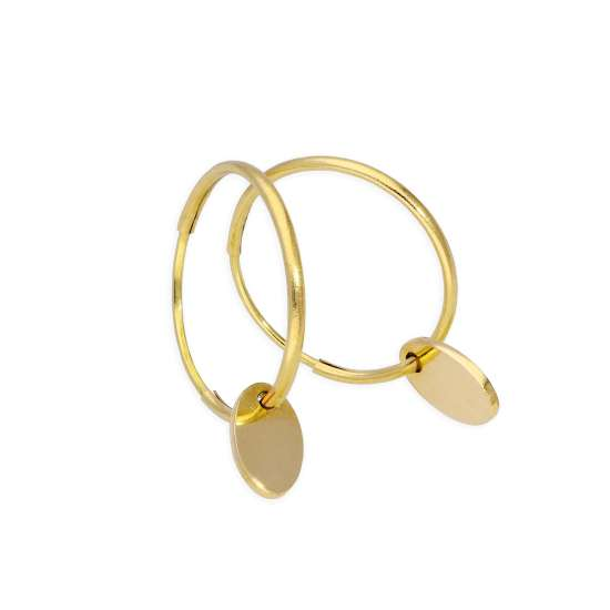 9ct Gold 10mm Charm Hoop Earrings with Tiny Oval Tags