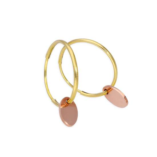 9ct Gold 10mm Charm Hoop Earrings with Tiny 9ct Rose Gold Oval Tags