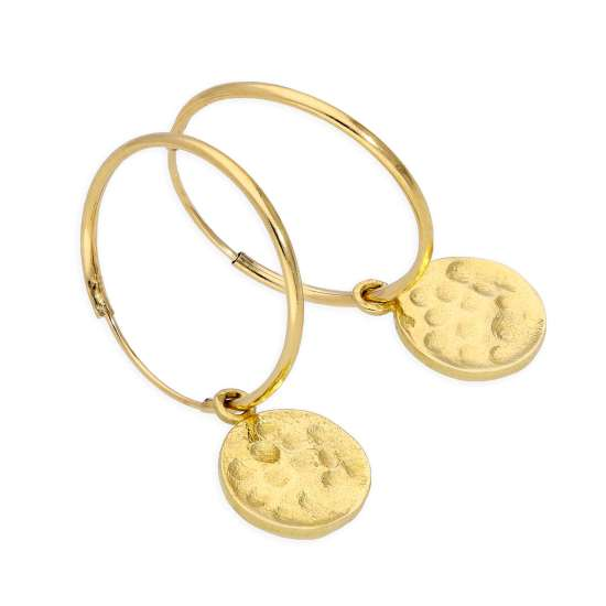 9ct Gold 10mm Charm Hoop Earrings with Hammered Round Discs